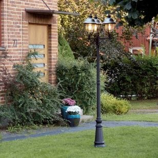 Konstsmide Parma Triple Lamp Post - Black and Stainless Steel