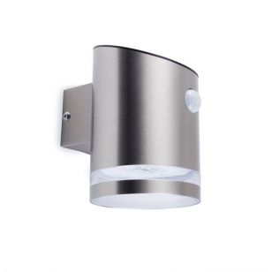 Tube Solar LED Wall Light with PIR Sensor - Stainless Steel