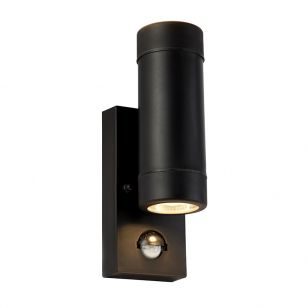 Searchlight Coastal Outdoor Up & Down Wall Light with PIR Sensor - Black