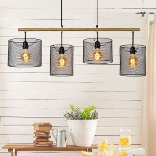 Lucide Baskett 4 Light Bar Ceiling Pendant - Black
