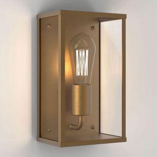 Astro Coastal Homefield Half Lantern Outdoor Wall Light - Antique Brass