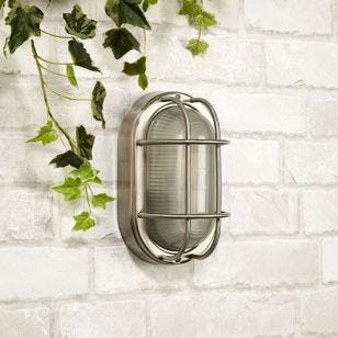 Searchlight Brunel Outdoor Oval Flush Light - Stainless Steel