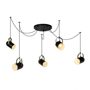 Lucide Swapp 5 Arm Ceiling Pendant Light - Black