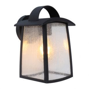 Lutec Kelsey Outdoor Hanging Lantern Wall Light - Black