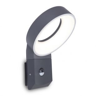 Lutec Meridian LED Outdoor Wall Light with PIR Sensor - Dark Grey
