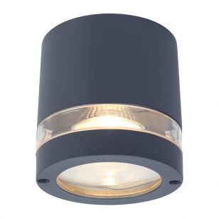 Lutec Focus Outdoor Flush Ceiling Light - Dark Grey