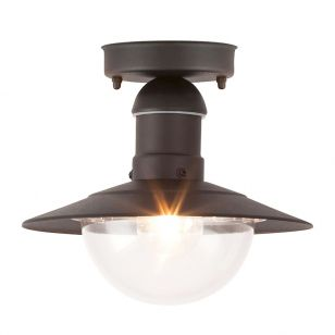 Edit Oslo Outdoor Semi-Flush Ceiling Light - Black