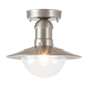 Edit Oslo Outdoor Semi-Flush Ceiling Light - Stainless Steel