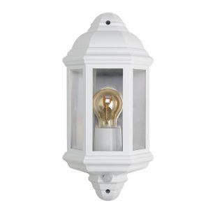 Half Lantern Outdoor Wall Light with PIR Sensor - White