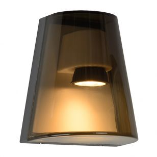 Lucide Freo Outdoor Flush Wall Light - Smokey Grey