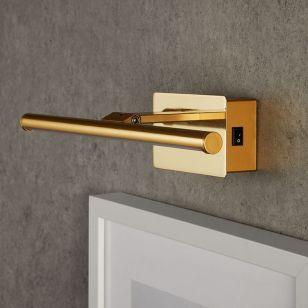 Medium Slimline Battery Operated LED Picture Light -  Polished Brass