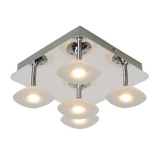 Lucide Hana 5 Arm LED Flush Ceiling Light - Chrome