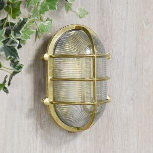 Edit Coastal Bow Outdoor Flush Wall Light - Brass