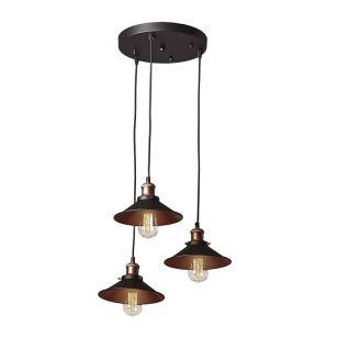 Edit Bench 3 Light Cascade Ceiling Pendant - Black & Copper