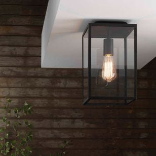 Astro Homefield Outdoor Flush Ceiling Light - Textured Black