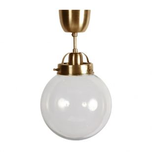 Edit Normandy Glass Semi-Flush Ceiling Light - Antique Brass
