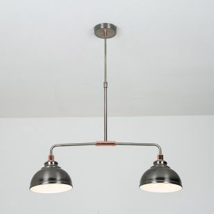 Edit Saloon 2 Light Bar Ceiling Pendant - Antique Chrome