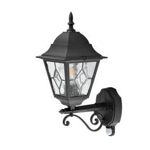 Edit Mottled Outdoor Lantern Wall Light with PIR Sensor - Black