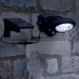 Solar LED Outdoor Wall Mounted Spotlight with PIR Sensor - Black