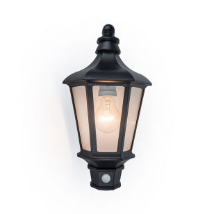 Cotswold Half Lantern Outdoor Wall Light with PIR Sensor - Black