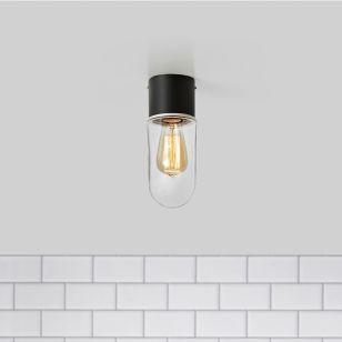 Zen Clear Glass Bathroom Flush Light - Black