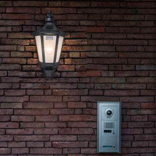 Cotswold Half Lantern Outdoor Wall Light - Black