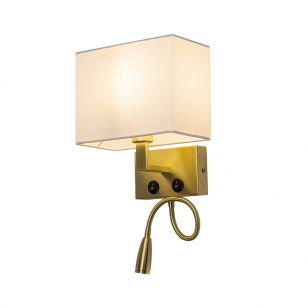 Edit Waldorf Wall Light with LED Reading Light - Brass