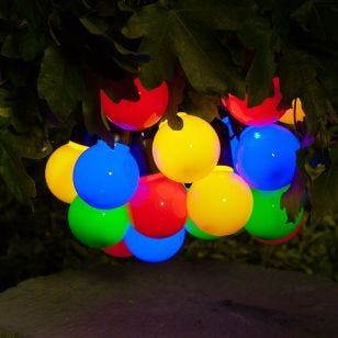 365 Solar Multi Coloured LED Festoons Lights - 20 Lights