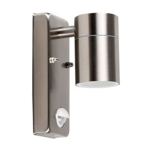 Edit Barrow Outdoor Wall Light with PIR Sensor - Brushed Silver