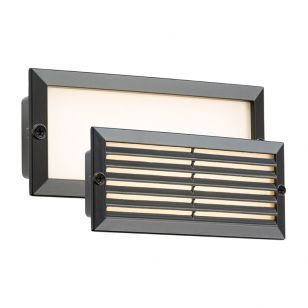 Oblong LED Outdoor Recessed Brick Light - Black
