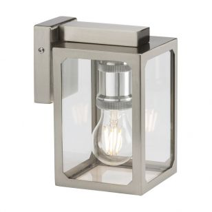 Solid Outdoor Hanging Lantern Wall Light - Brushed Chrome