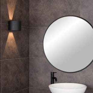 Lucide Axi Curve Bathroom LED Up & Down Wall Light  - Black
