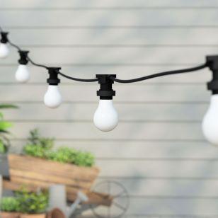 8.25M Connectable Heavy Duty Festoon Lights - 10 Black Bulb Holders