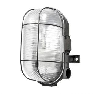 Outdoor Oval Caged Bulkhead Light - Black