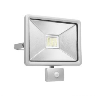 50W Cool White LED Compact Floodlight with PIR Sensor - Grey