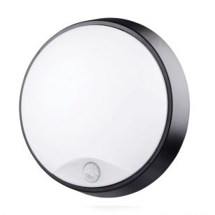 Luceco Eco 10W Cool White LED Round Flush Light with PIR Sensor - Black/White
