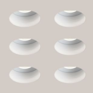 Astro Trimless Round Fire Rated Fixed Downlight - Matt White - Pack of 6