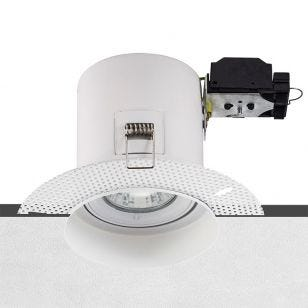 Trimless Plaster-In Fire Rated Tiltable Downlight - White