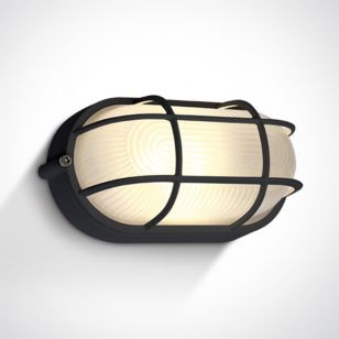 Guard 10W Warm White LED Outdoor Oval Bulkhead with Cage - Black
