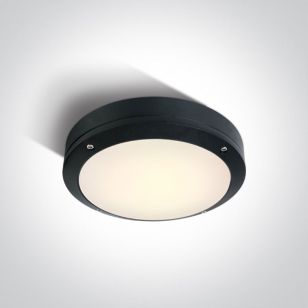 Guard 10W Warm White LED Outdoor Round Bulkhead - Black