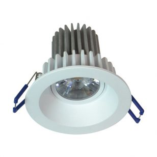 Round Recessed 8W Cool White LED Fixed Downlight - White