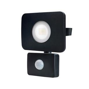 Tough Compact 20W Warm White LED Floodlight with PIR Sensor - Black
