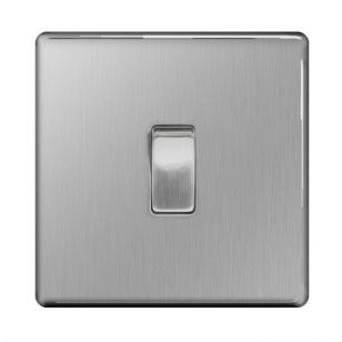 Brushed Steel Screwless 10A 1 Gang 2 Way Light Switch