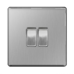 Brushed Steel Screwless 10A 2 Gang 2 Way Plate Switch