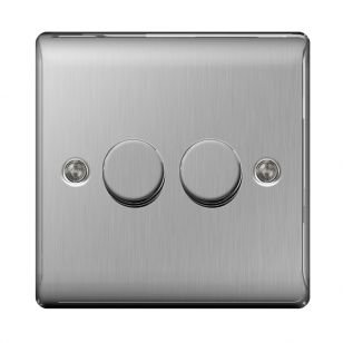 Brushed Steel Low Profile 2 Gang 2 Way 400W Dimmer