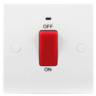 White Moulded 45A Cooker Switch with Neon