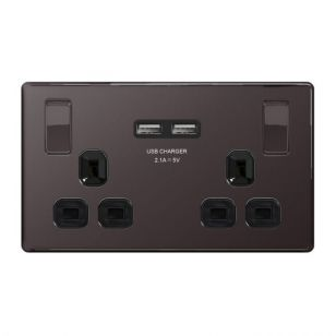 Black Nickel Flat Plate 13A 2 Gang Socket With USB Charging Ports