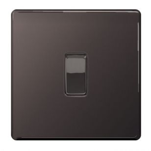 Black Nickel Screwless 10A 1 Gang Intermediate Light Switch