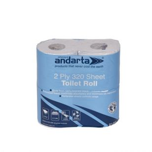 Andarta 2 Ply 320 Sheet Toilet Roll - Pack of 36
