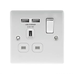 Gloss White Low Profile 13A 1 Gang Socket With USB Charging Ports